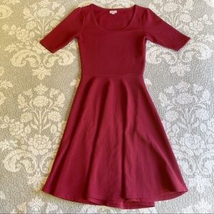 LuLaRoe Reddish Purple Nicole Midi Dress
